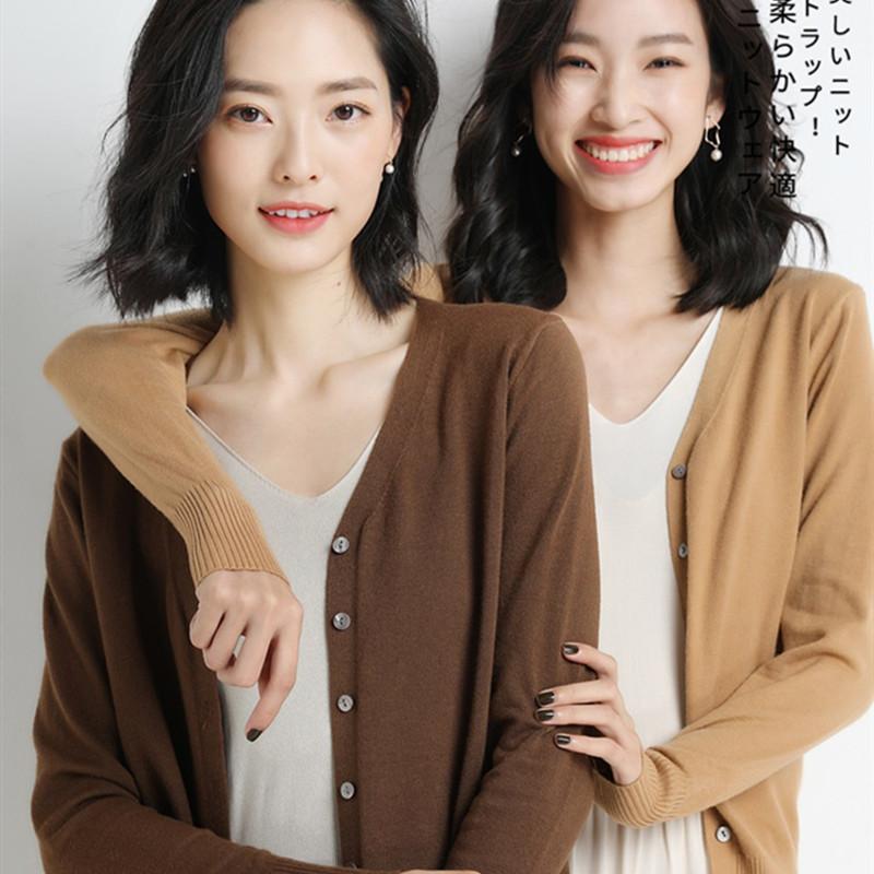 【品牌清仓】第二件0元V领开衫女宽松外套针织薄短款纯色外搭