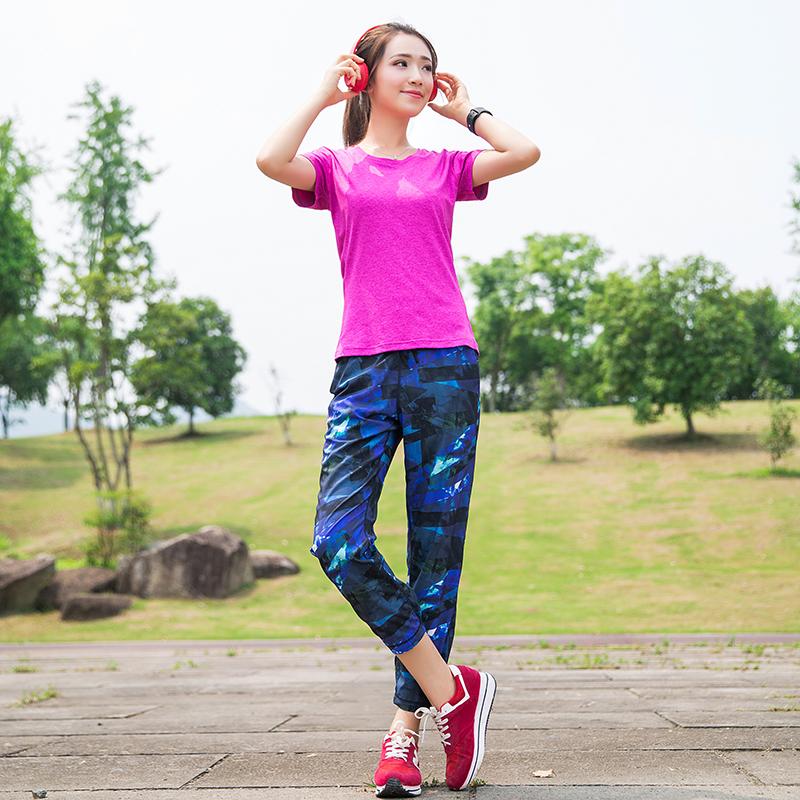 健身裤女户外运动裤宽松薄款九分瑜伽服夏季训练跑步速干裤长裤子