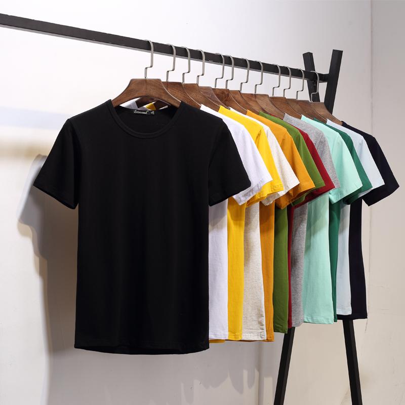 Мужской короткий рукав Футболка нижняя рубашка круглый воротник Чистая цветная футболка чистая белый черный приталенный Половина рукава летом мужской одежда