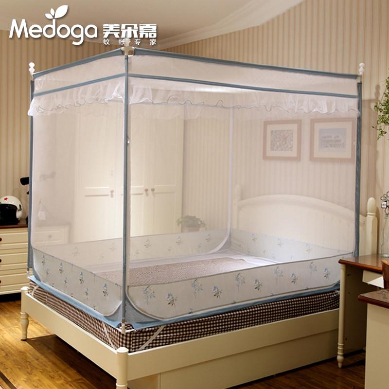 Đẹp Doojia mới muỗi net ba mở cửa vuông mã hóa dày bracket 1.5 m 1.8m1.2 giường đôi nhà