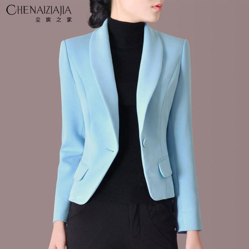 小西装女2019秋装OL修身显瘦工作装短外套长袖韩版v长袖西服C16