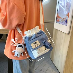 ins少女日系单肩斜挎包可爱帆布水桶包