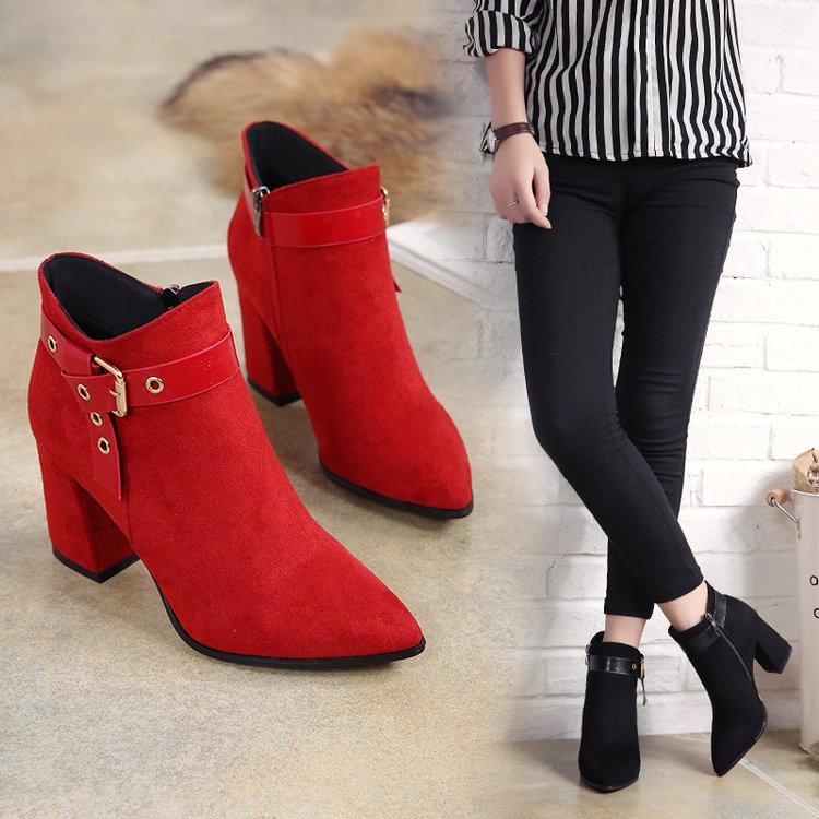 时尚粗跟马丁靴奥康怡然2017秋冬新款真皮高跟短靴红色尖头女鞋靴