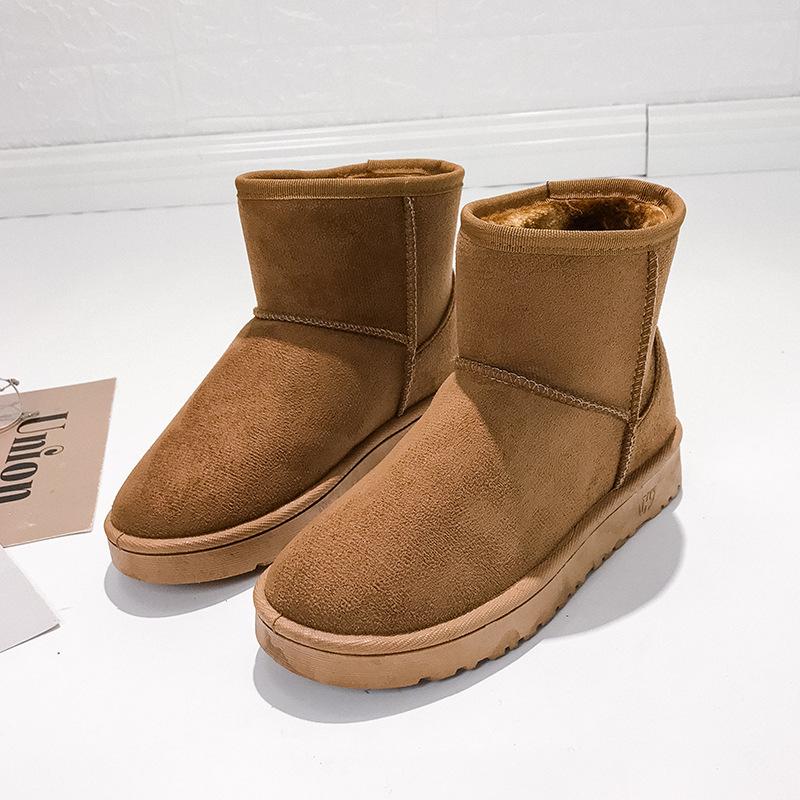 中國代購|中國批發-ibuy99|冬短筒雪地靴子41大码女装休闲女士学生毛毛鞋平底加厚加绒保暖鞋