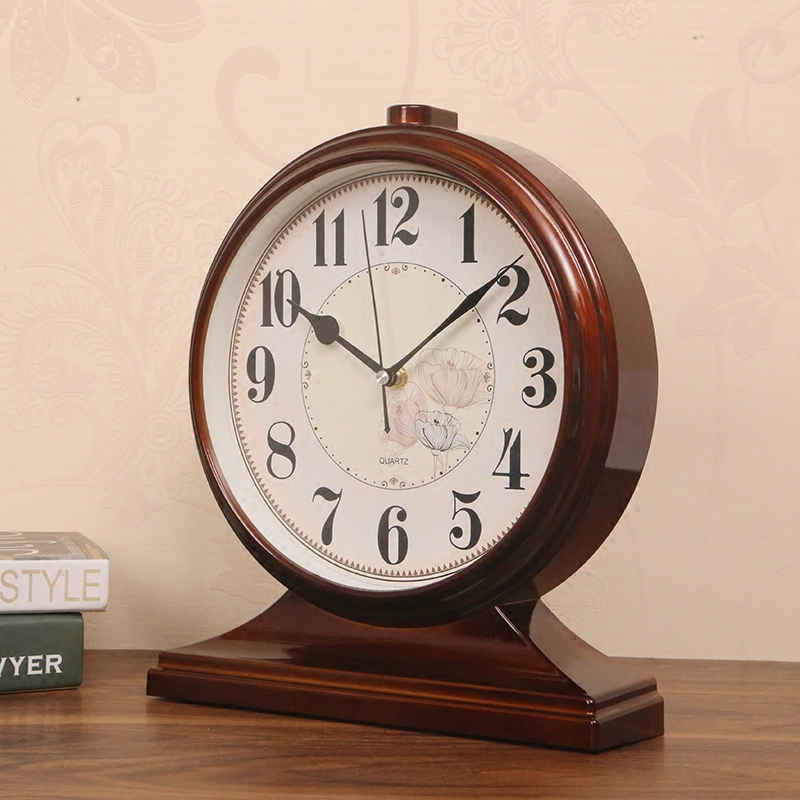 Large living room seat clock retro mute classic desktop clock study bedroom office TV cabinet decoration