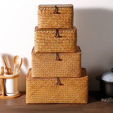 Kens straw storage box with lid, sundries storage basket, woven finishing box, ornament box, non willow