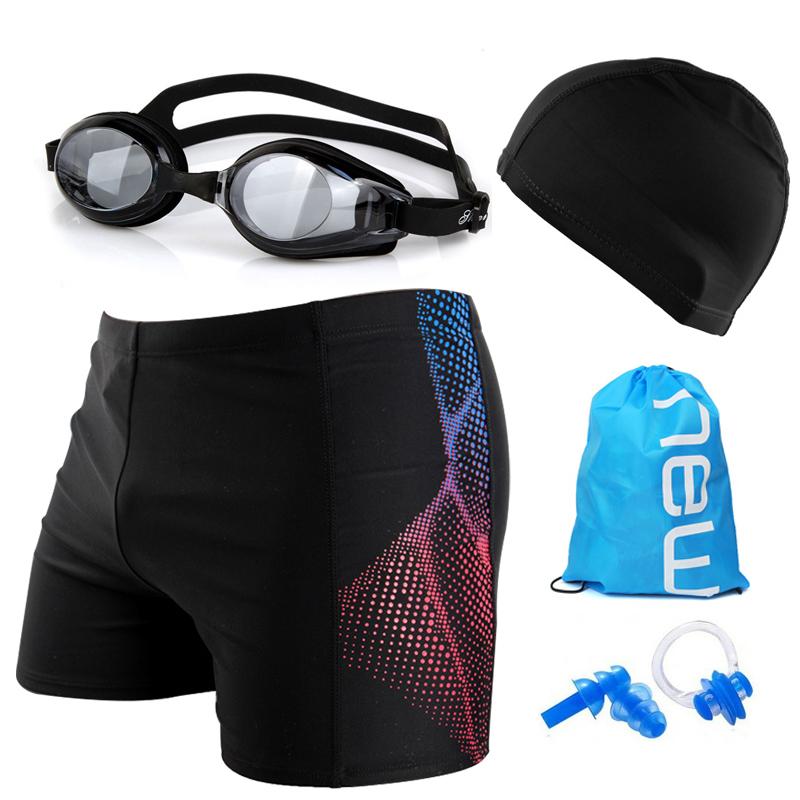男士泳裤+泳帽平角温泉大码宽松游泳衣时尚泳镜装备五件套装