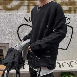 1CHEN / Autumn and winter original dark couple casual loose ov hedging ripped jacket knitted pullover sweater men