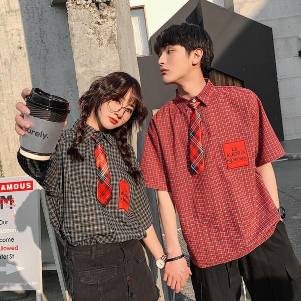 TS-159#配领带结JK学院风情侣装翻领短袖衬衫搭配格子领带