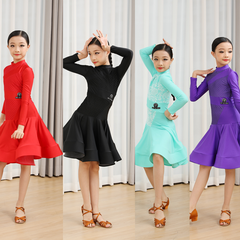 Girls Latin Dance Dresses Black pool Latin dance competition clothing professional high end children art examination required performance clothing performance dress for female children dress