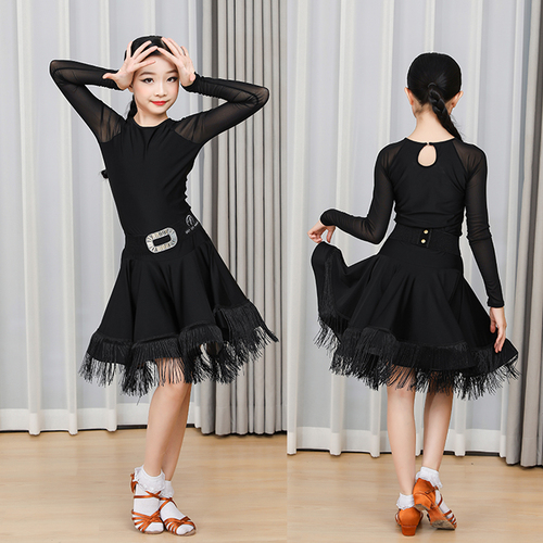 Girls Latin Dance Dresses Latin Dance Costume children standard professional competition training dance clothing children tassel long sleeve skirt girl