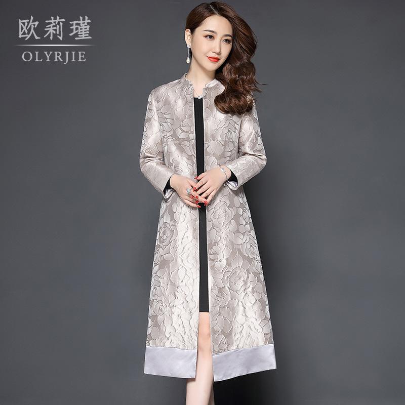 2018秋季新款中國風立領復古風衣女中長款媽媽寬松薄款氣質女外套