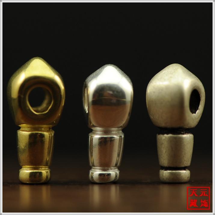 黄铜/合金银/做旧藏式佛头 三通佛塔一体式 佛珠念珠星月DIY配饰