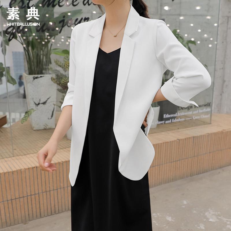 初秋雪纺西装外套女薄款2019新款韩版v雪纺网红时尚修身白色小西服