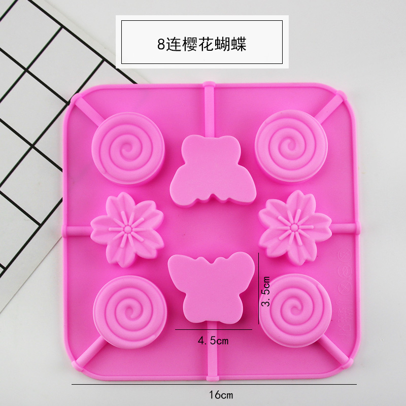 8 Even Cherry Blossom Butterfly Lollipop Mold
