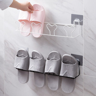 Household goods artifact Daquan bathroom toilet storage rack free punch bathroom slippers rack wall hanging