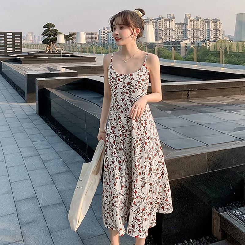 碎花吊带连衣裙女2020新款夏季时尚A字裙韩版时髦中长裙女装裙子