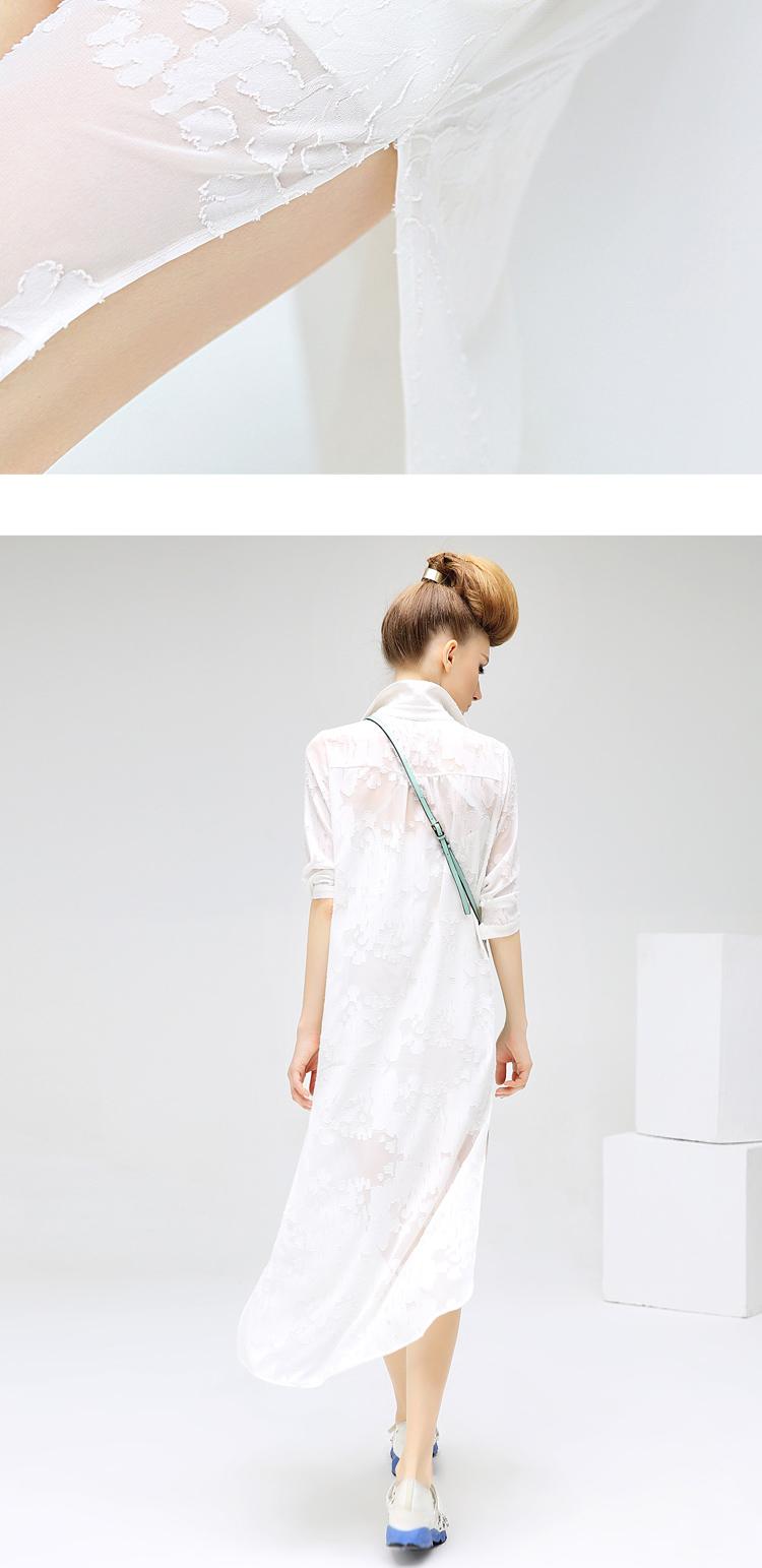 预售COCOBELLA剪花雪纺连衣裙女侧开叉中长款长袖OP衬衫裙DS44512张