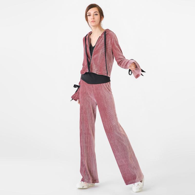 [尖叫价]COCOBELLA金丝绒套装女短外套及休闲校服裤两件套TA78