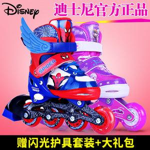迪士尼儿童溜冰男轮滑鞋蜘蛛侠女滑轮闪光轮旱冰鞋全套装3-6-10岁