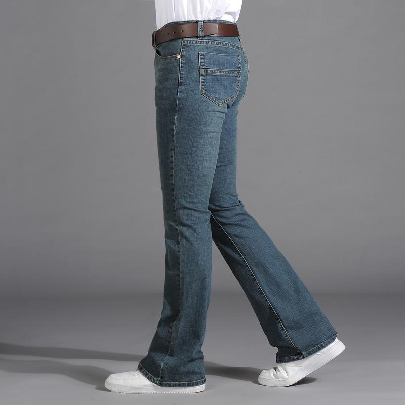 18 mùa thu mới của nam denim quần đáy chuông siêu nhỏ Phiên bản Hàn Quốc của quần jeans ống co giãn nam denim