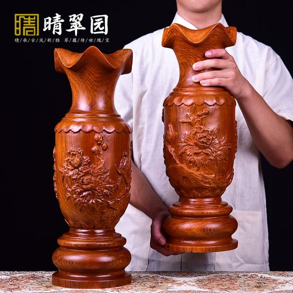 Yellow wood gourd decoration large solid wood Fu Lu more living room office decoration