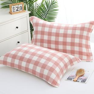 纯棉枕巾全棉纱布枕巾一对装日式格子枕头巾学生成人情侣欧式枕巾