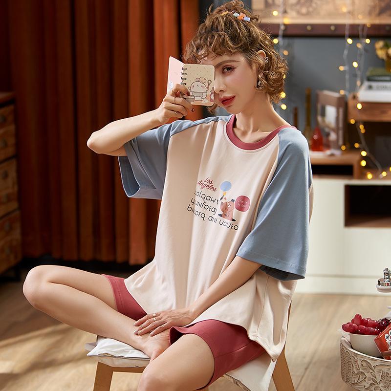 2020年夏季新款短袖睡衣女韩版卡通可爱甜美圆领可外穿套装女