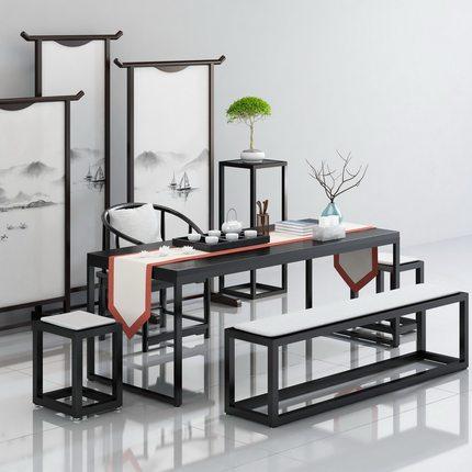 实木茶几 茶桌椅组合现代简约功夫茶台 复古原木新中式喝茶泡茶桌