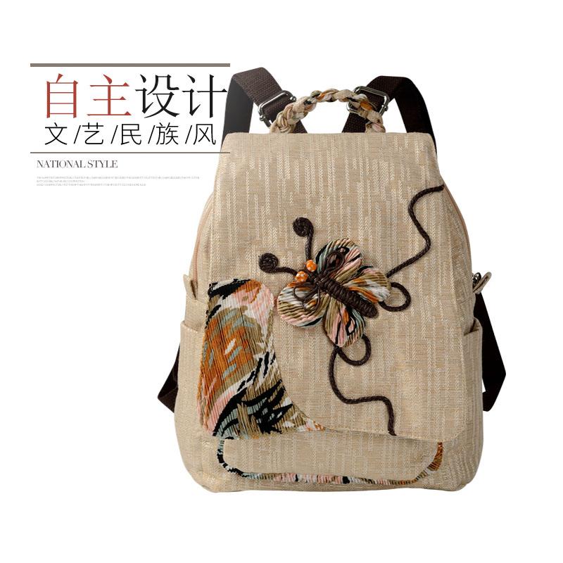 韩版编织中国风女士风背包双肩包民族帆布范时尚休闲复古文艺逛街