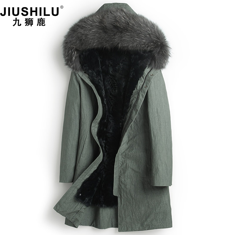 Pai overcomes the male fur one-in-one coat hare fur inside the bile hooded slim fur coat plus thick fur coat