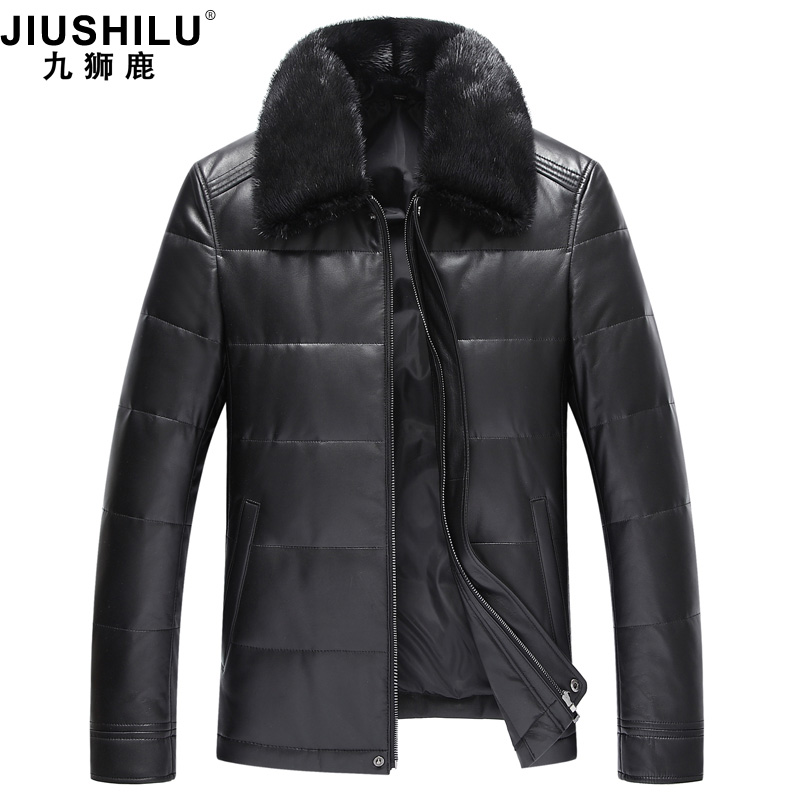 Leather down jacket men's leather 2018 new sheepskin jacket mink leather collar middle-aged fur coat.