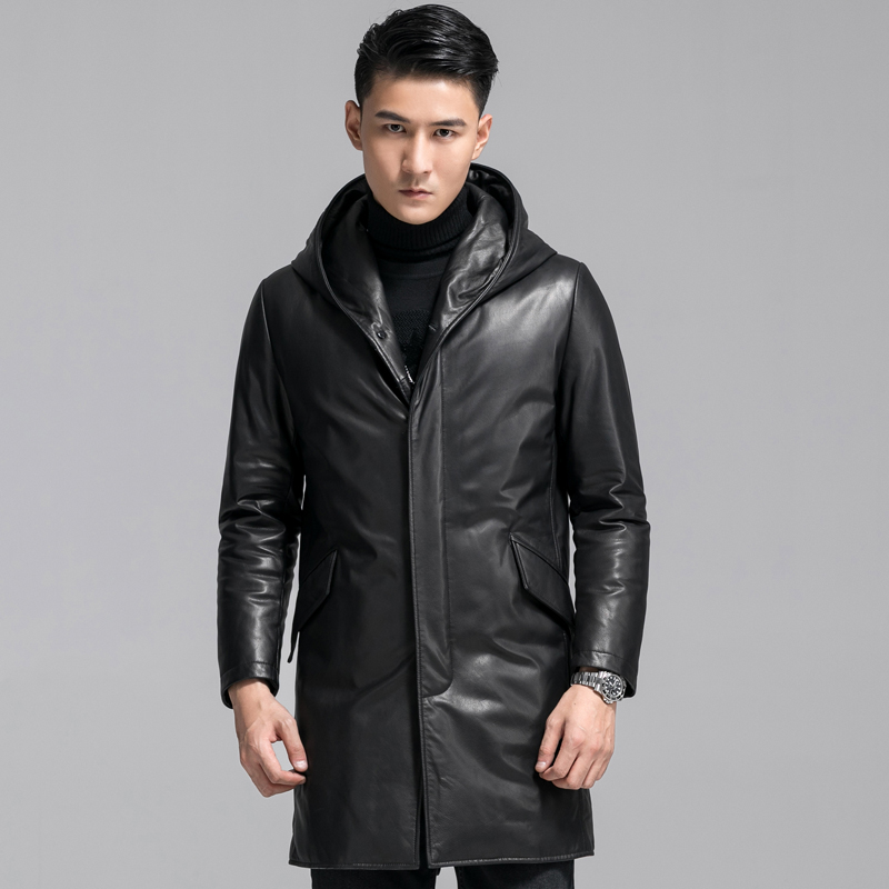 Leather fur men's fur all-in-one down jacket head layer cowhide winter thick casual long windcoat fur coat