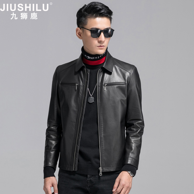 Nine Lions Deer leather men's 2018 new head-layer leather jacket Henning slim casual fur coat.