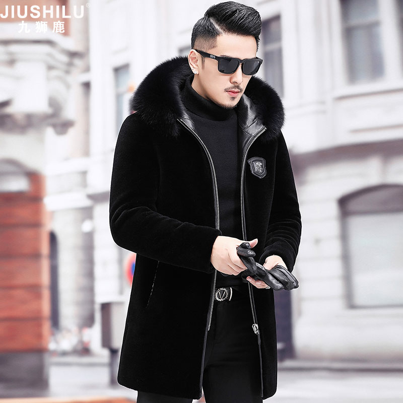 Fur all-in-one men's cashmere coat mink fur hooded business casual winter long cashmere fur coat