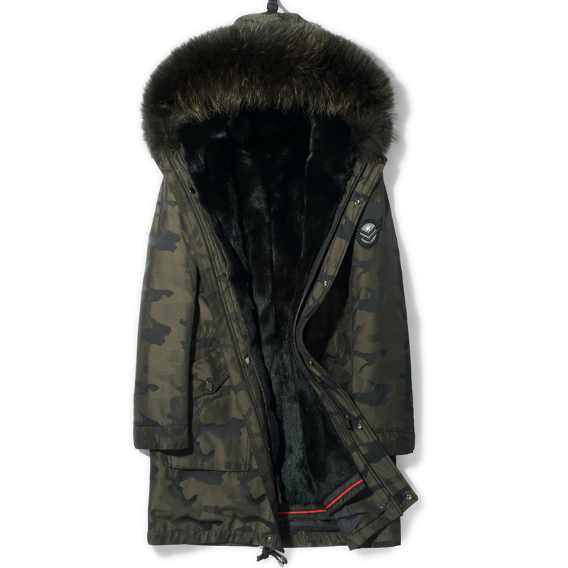Pai overovercome male fur one-piece fur inner bile skin ni overcome coat mule hair collar Henning fur coat