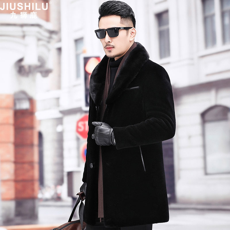 Fur one men's cashmere coat mink fur collar business casual winter long sheep cut cashmere fur coat