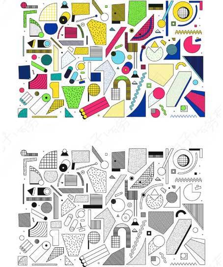 创意几何孟菲斯风格包装海报矢量