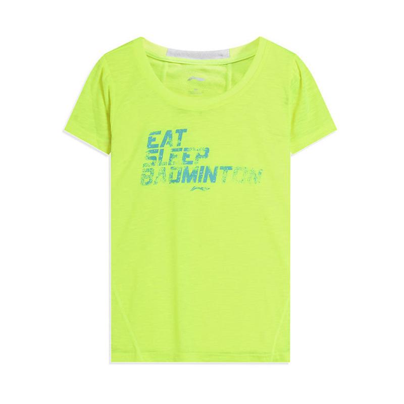 Áo thun nữ tay ngắn của Li Ning Thời trang thể thao nữ thời trang nữ cơ bản áo thun ngắn tay màu trắng hàng đầu GHSL066-2 - Áo phông thể thao