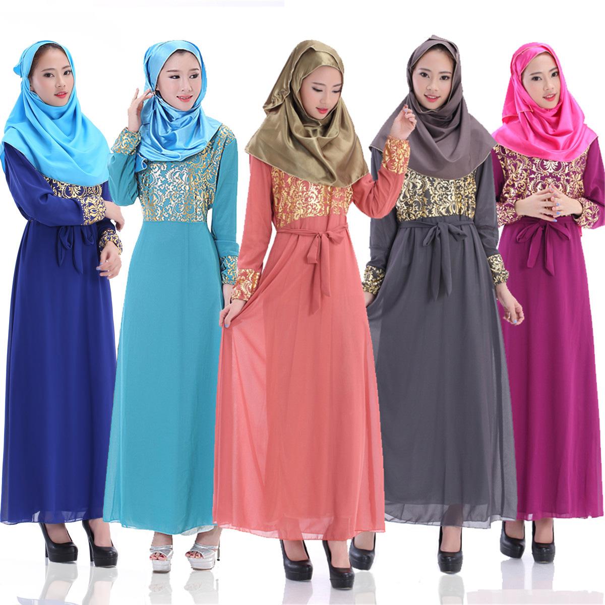 Womens Fashion Bronzing Muslim Maxi Dress (Navy blue ...