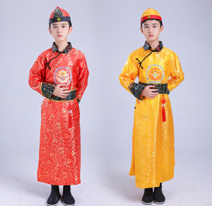 Children chinese ancient Qing Dynasty Emperor crown prince cosplay for boys robes Belle performance clothes small landlord young master clothing for boys
