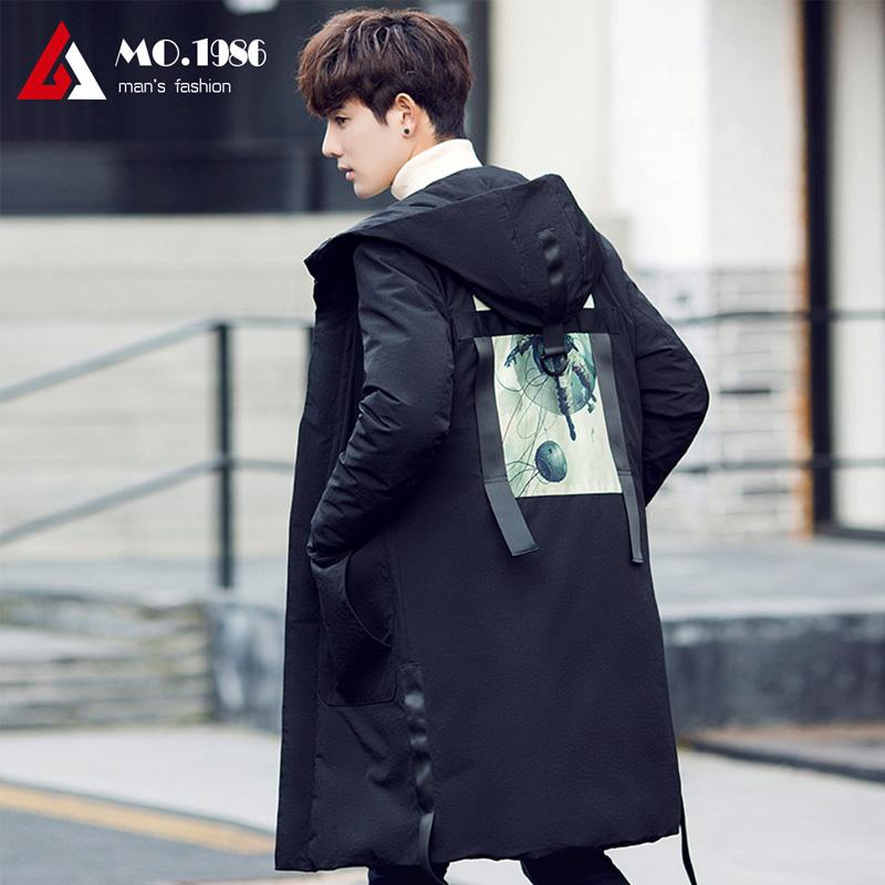 2017潮流韩版男士羽绒服中长款