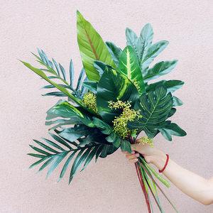 创意北欧热带仿真植物把束天堂鸟绿萝叶子软装家居花瓶搭配龟背叶