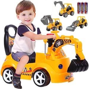 大号儿童挖掘机可骑可坐滑行车挖土机学步车扭扭车人玩具车工程车