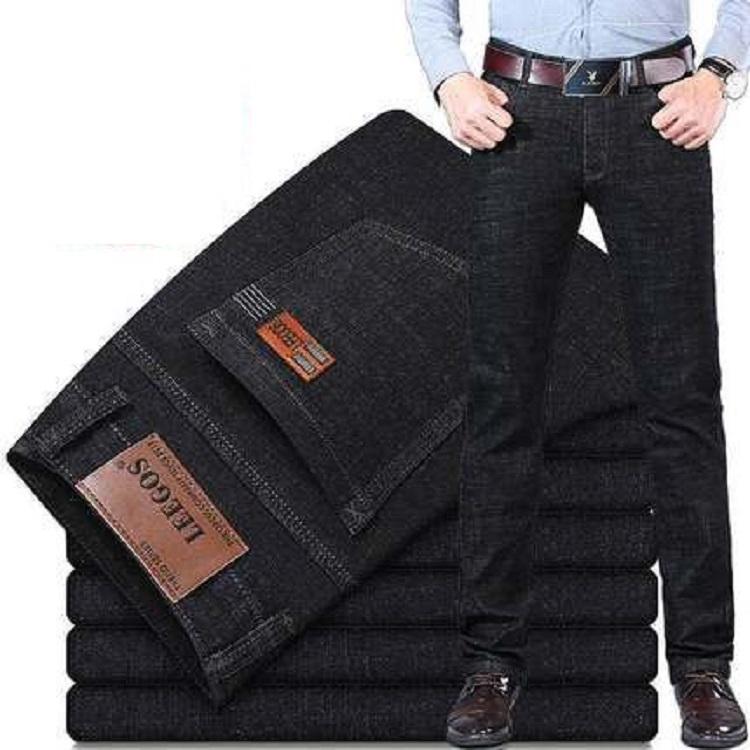 秋冬款男士牛仔裤加绒加厚直筒宽松冬季男装修身休闲长裤子男黑色