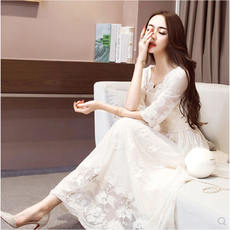 Lace dress 2018 summer new style sukol dress temperament retro gentle large long paragraph in the super dress