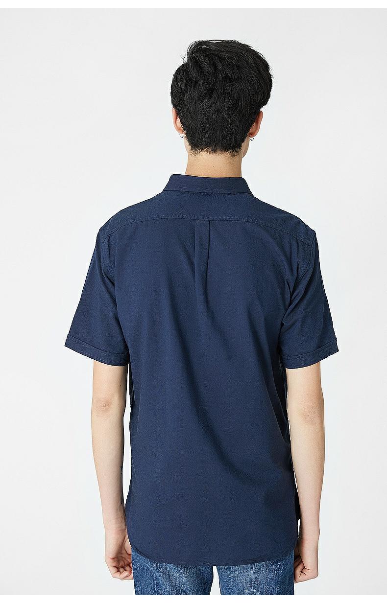 C & A vá túi ve áo oxford áo sơ mi nam mùa hè mới cotton màu xanh đậm áo CA200205300 áo sơ mi nam cổ trụ