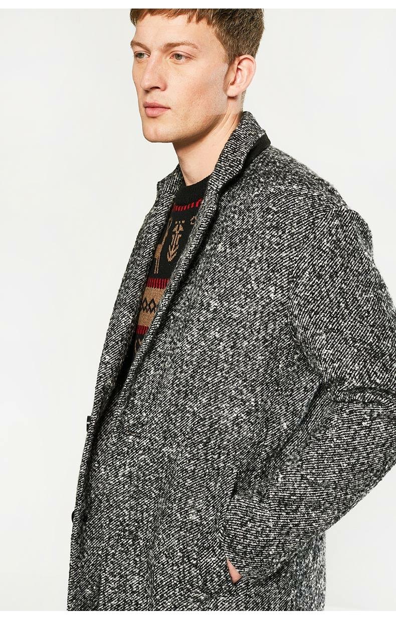 C & A nam màu hỗn hợp ve áo áo mùa thu và mùa đông dài áo khoác bông áo CA200197052