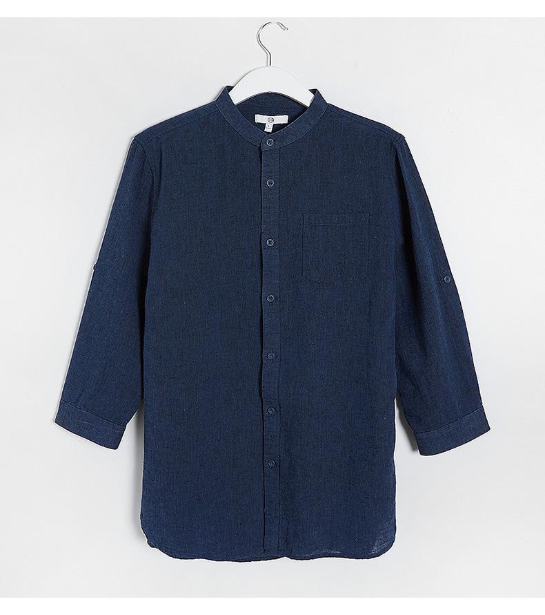 C & A Nam Dark Blue Cắt Tay Áo Bông Áo Mùa Hè Cơ Bản Pocket Đứng Cổ Áo Sơ Mi CA200204151 áo sơ mi trắng form rộng
