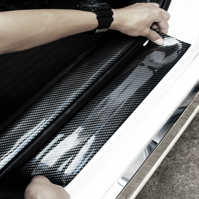 汽车门槛条 防踩贴碳纤纹保险杠防擦装饰条 通用改装车门边防撞贴